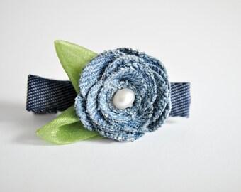 Denim Flower - Up-cycled Blue Denim Rose - Denim Hair Clip - Blue Rose - Girls Hair clip - Toddler denim Barette - Women's Clip - HC1202