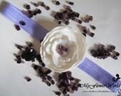 Ivory/Purple/Violet Christening/Baptism/Wedding Headband,Hair Flower, Photography Prop/Hair Accessories