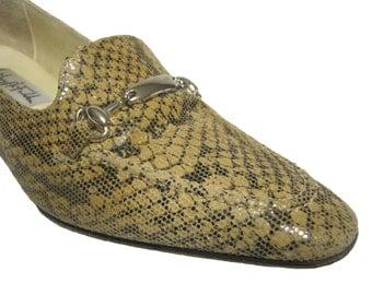 Vintage Mary McFadden Shoes Snake Skin Pattern Heels - Women's Shoes - size 6.5