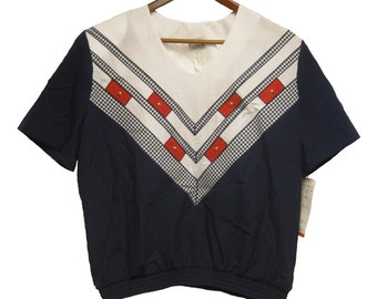 Vintage Regal Fashions Women's Blouse - Red White and Blue with Gold Beading Accents - size Large -  Made in USA