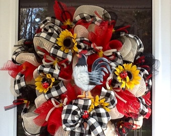 Deco Mesh Rooster Wreath