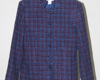 vintage pendleton jacket women's size 4 purple and blue plaid