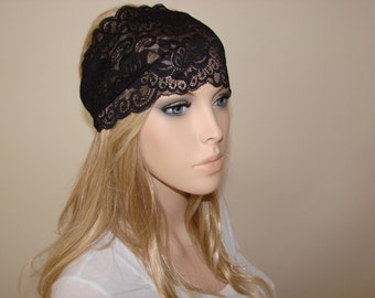 Black stretchy wide lace headband, yoga headband, turban headband,bandans headband, hair band Headband, flower lace headband woman