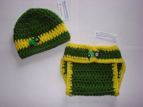 Free Crochet Deer Diaper Cover Pattern : Items similar to Baby boy John Deere diaper cover hat set ...