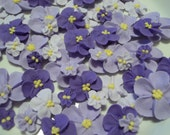 Shades of purple royal icing flowers -- Ombre -- Cake decorations cupcake toppers edible (48 pieces)