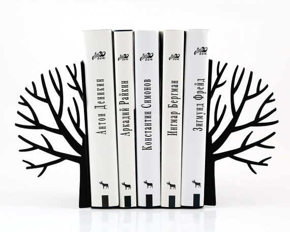 Metal bookends _Winter trees_ // functional decor for modern home // FREE SHIPPING // Scandinavia inspired book holders // housewarming gift