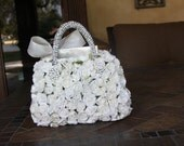 custom white flower girl basket with 4 small brooches and paper roses