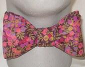 LIBERTY of LONDON BOW Tie Wiltshire Coral, Fuchsia, Green, Dark Plum Floral Cotton BowTie