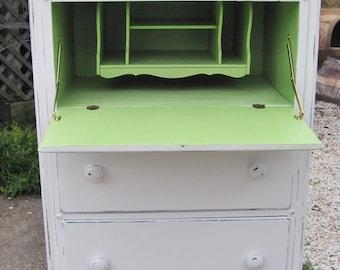 White & Green Drop-Down Secretary Desk Highboy