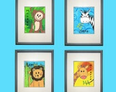 "Safari Monkey Jungle Collection Digital Print Download - 8"" x 10"" - Set of 4"
