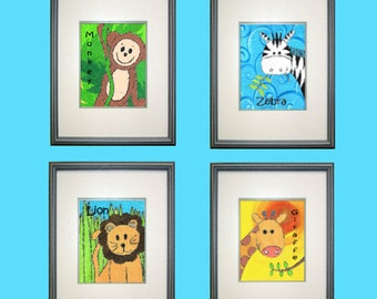 "Safari Monkey Jungle Collection Digital Print Download - 8"" x 10"" - Set of 4"
