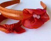 Fall Colors Ribbon wrapped headband and bangle set