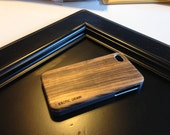 NEW real wood IPHONE 4/4/s case exotic  zebrano  wood,real wood,  sharp metal  silver  looking edges