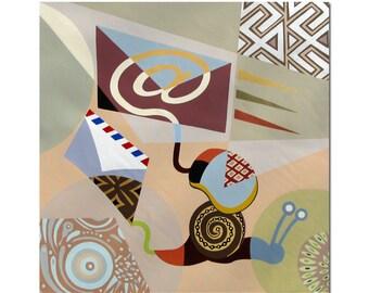 "Typography Wall Art Acrylic on Canvas Evolution Mail,  Original Acrylic Painting, Snail Wall Art, Mail Art,  26"" X 26"""