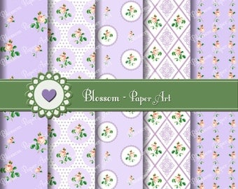 Digital Paper - SHabby CHic DIgital Paper Pack - Violet - Roses Digital Scrapbooking Pack - Wedding papers - Purple - 1611