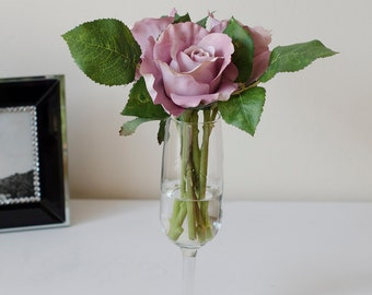 Purple Silk Rose Arrangement with Artificial Rose Flowers and Faux Water in Wine Glass Vase for Home Decor