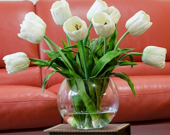 Real Touch Tulip Arrangement with White Tulip Flowers Artificial Faux in Round Vase for Home Decor and Silk Centerpiece