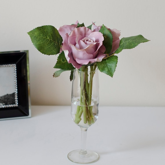 Purple Silk Rose Arrangement With Artificial Rose Flowers And