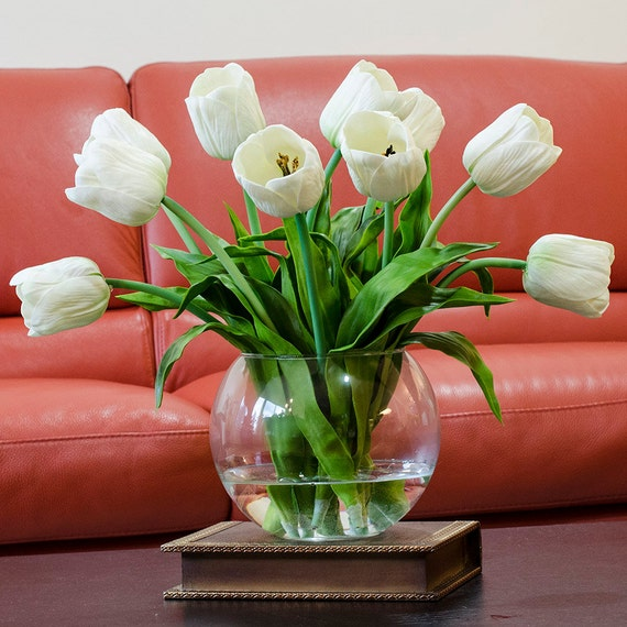 Large real touch tulip arrangement with ivory tulip flowers for Real plants for home decor
