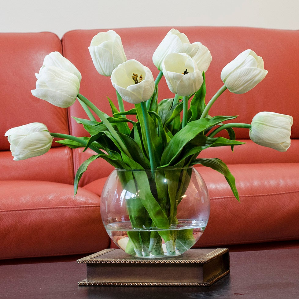 Large real touch tulip arrangement with white tulip flowers for Amaryllis planter bulbe