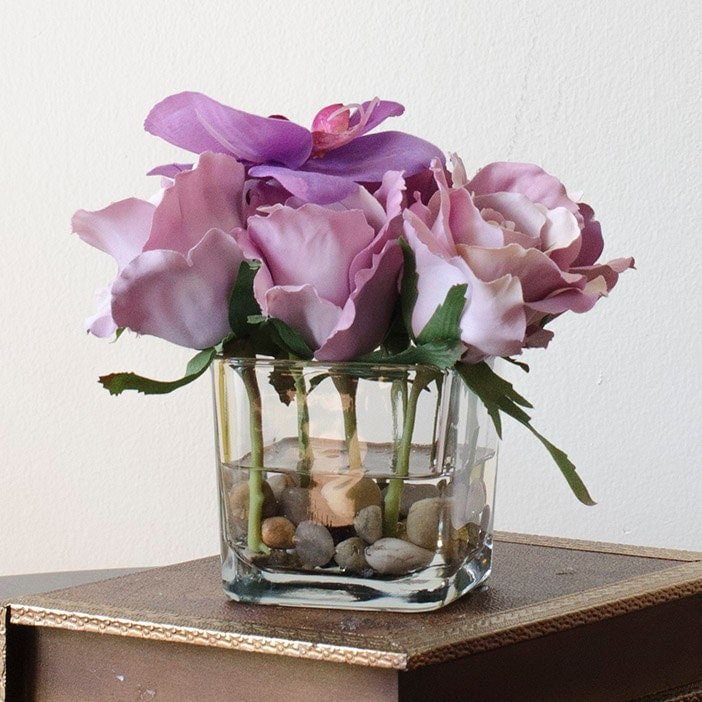 Silk Rose Arrangement With Purple Rose Orchid Flowers In