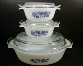 Anchor Hocking Fire King Set of 3 Casserole Dishes Blue Flowers