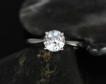 Flora 6mm 14kt White Gold Round White Topaz Tulip Cathedral Solitaire Engagement Ring (Other metals and stone options available)