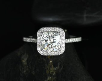 Camila 7mm 14kt White Gold Thin FB Moissanite and Diamonds Cushion Halo Engagement Ring (Other metals and stone options available)
