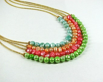 Colorful pearl necklace Bright colored bead Multi layer necklace Yellow, coral, lime green, blue multistrand necklace Office summer jewelry