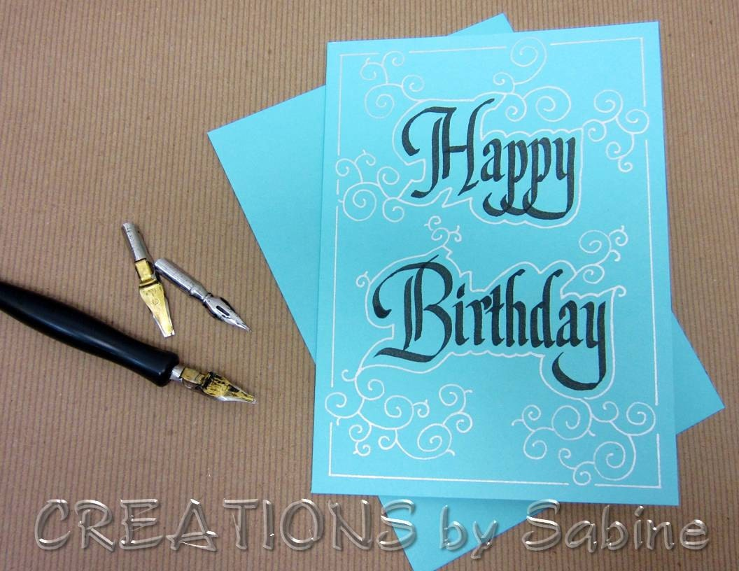 Happy birthday greeting card calligraphy handwritten note