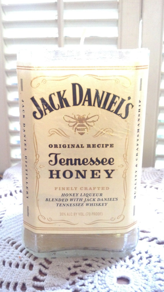Jack Daniel's Tennessee Honey Whisky Whiskey Jack Daniels Candle recycled bottle Glass upcycled bottle Man cave bar decor