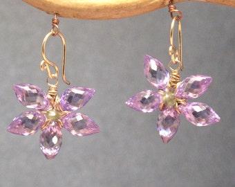 Amethyst flower earrings Victorian 278