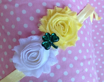 St. Patricks Day Headband, Yellow and White Shabby Chic Flowers on a Headband with Shamrock Embellishment , Infant to Adult