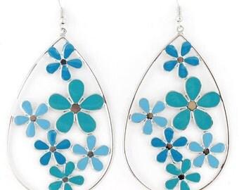 Silver-tone Hollow BIG BLUE/Green Flowers Tear Drop EARRINGS