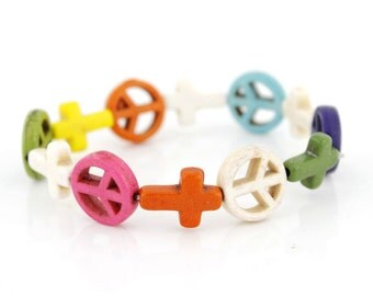Simple Rainbow Natural Turquoise Stone Peace Sign/Cross Elastic Bracelet