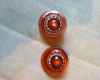 Orange Rhinestone Plastic Earrings - Very Different - Clip Ons
