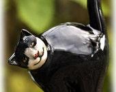 Ceramic cat in cheery black and white