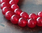 Dyed Jade Beads, Semitransparent Red, 8mm Round - 15 Inch Strand - eSJR-R06-8