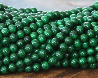 Mountain Jade Beads, Dark Green, 6mm Round - 15.5 Inch Strand - eMJR-G14-6