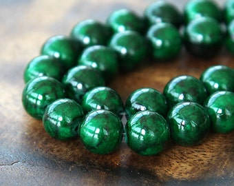 Mountain Jade Beads, Dark Green, 10mm Round - 15 inch strand - eMJR-G14-10