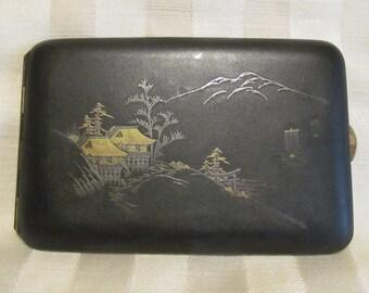 Vintage 1920s Cigarette Case Asian Design Cigarette Case Matte Black Cigarette Case Business Card Case Excellent Condition