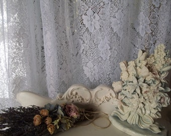 vintage white shabby chic cottage chic floral lace panels by hermina's cottage