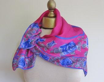 Vera silk scarf , vintage scarf , ladies he'd scarf , floral silk scarf , neckerchief, hot pink silk, magenta scarf