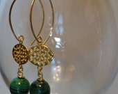 Stunning Large Malachite. gold connector long gemstone earrings