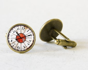 Customizable Cuff Links, Bronze cufflinks, Fathers Day Gift, Steampunk, Vintage Clock, For Dad, For him, Mens Jewelry, Personalised gift