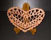 Scroll Saw Valentine's Heart Shaped Candle Trivet Made From Red Oak