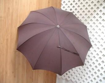 "Umbrella  Vintage Outdoor Leather Handle Brown 34"" Diameter 20"" Long E141z"