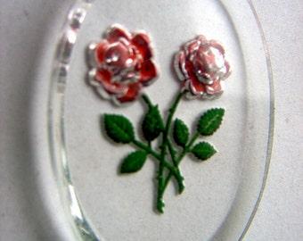 Large Vintage Glass Red Rose Intaglio