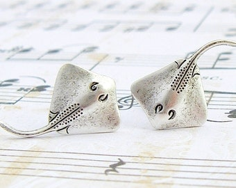 Stingray - antique finish silver post earrings, surgical steel post earrings