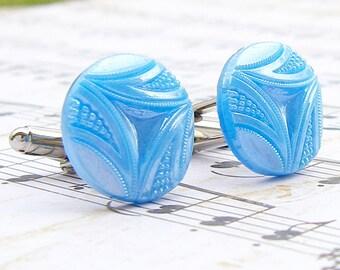 Sky Blue vintage glass button cufflinks
